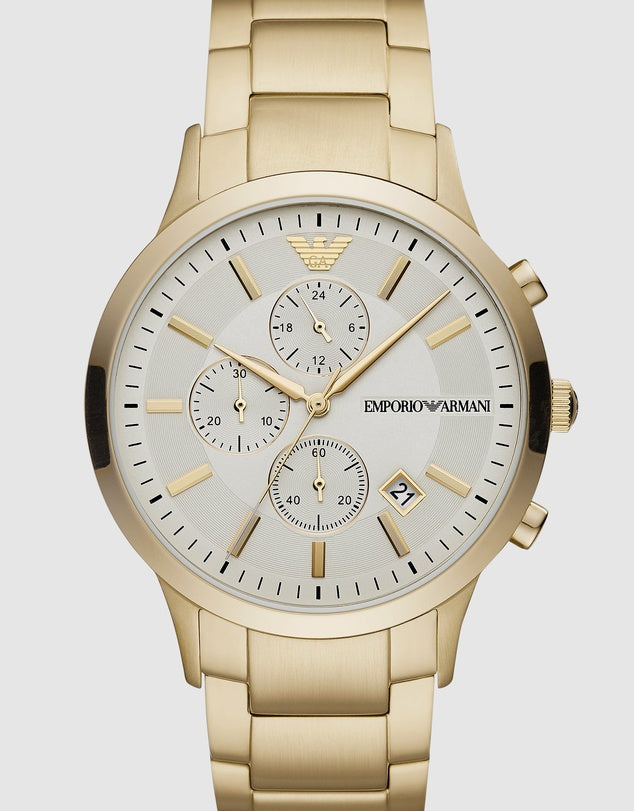 EMPIRO ARMANI GOLD-TONE CHRONOGRAPH WATCH