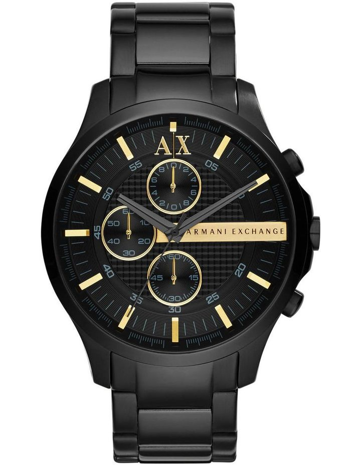 AX HAMPTON CHRONOGRAPH WATCH BLACK DIAL GOLD BATTONS BLACK STAINLESS STEEL