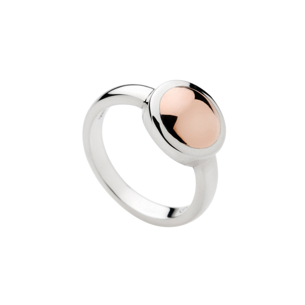 12MM SILVER & ROSE GOLD (14K 1MC) PLATE DISC ON 3MM 1/2 ROUND BAND MEDIUM