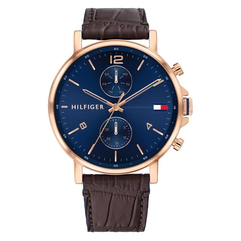 TOMMY HILFIGER DANIEL BLUE DIAL BROWN LEATHER