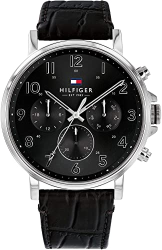 TOMMY HILFIGER DANIEL BLACK DIAL BLACK LEATHER STRAP