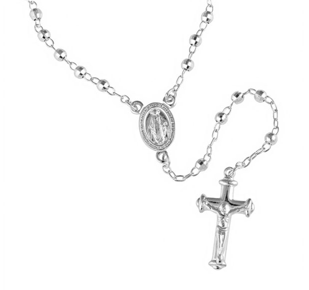 3MM RHODIUM PLATED STERLING SILVER DIAMOND CUT ROSARY NECKLACE 60CM