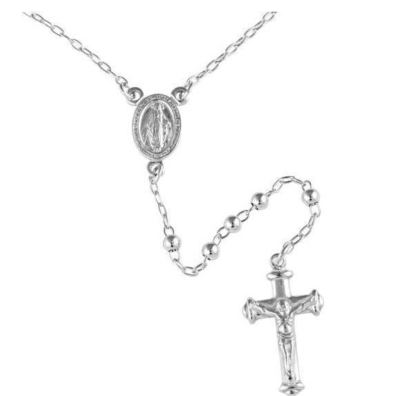 3MM RHODIUM PLATED STERLING SILVER PLAIN BALL ROSARY NECKLACE 55CM