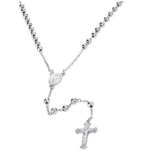 4MM RHODIUM PLATED STERLING SILVER DIAMOND CUT ROSARY NECKLACE 55CM