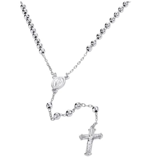 4MM RHODIUM PLATED STERLING SILVER DIAMOND CUT ROSARY NECKLACE 60CM
