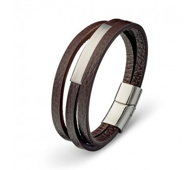 MENS LEATHER BRACELET BROWN