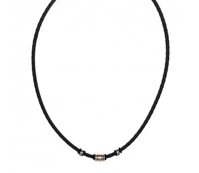 STAINLESS STEEL MEN'S BLACK LEATHER NECKLACE WITH BEAD DETAIL