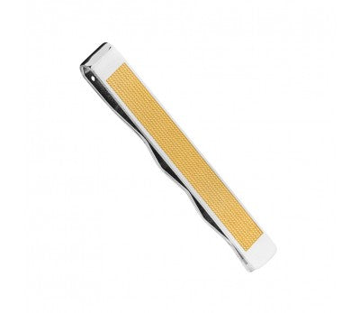 STAINLESS STEEL TIE BAR WITH GOLD DETAIL AND CHAIN