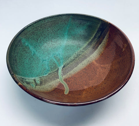 Large Low Bowl - Ancient Red & Verdigris