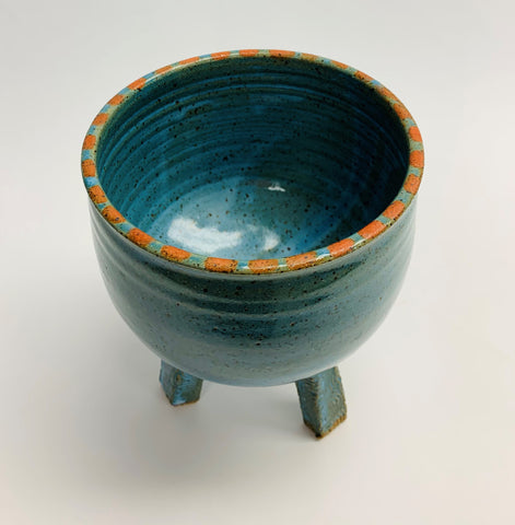 Tripod Bowl - Turquoise Orange Dot