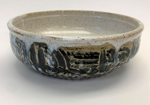 Low Bowl Carved - Black & White