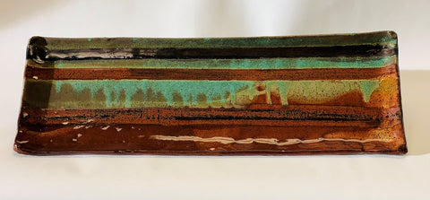 Long Stoneware Tray in Ancient Red & Verdigris
