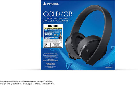 PS4 Headset Wireless Sony Playstation Gold Black With Fortnite Neo Versa Bundle New