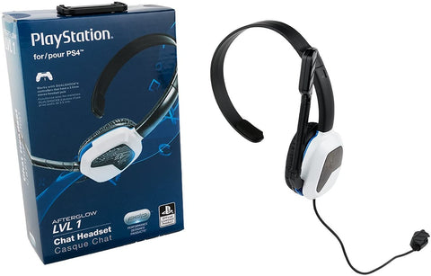 PS4 Headset Wired PDP Afterglow LVL 1 Chat White New