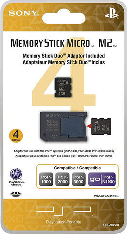 PSP Memory Stick Micro 4GB With Memory Stick Duo Adapter Sony New