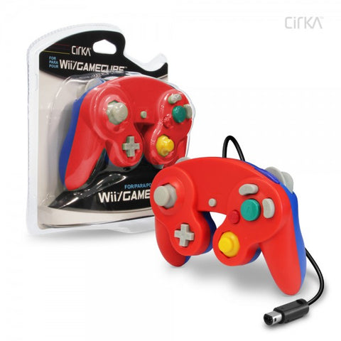 Gamecube Controller Wired Cirka Red Blue Mario Colours New
