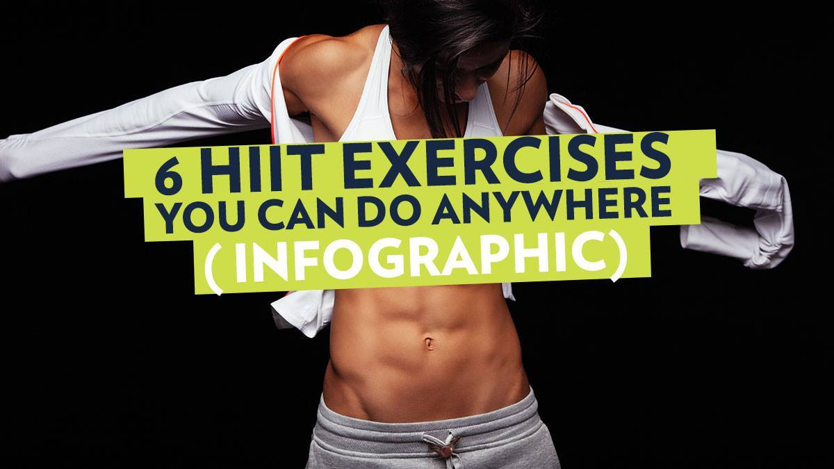 Image of Bodyrock blog article - 6 HIIT Exercises You Can Do Anywhere (Infographic)