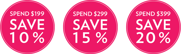 Image of Build your own bundle pricing with text Spend $199 to SAVE 10 percent or Spend $299 to SAVE 15 percent or Spend $399 to SAVE 20 percent.