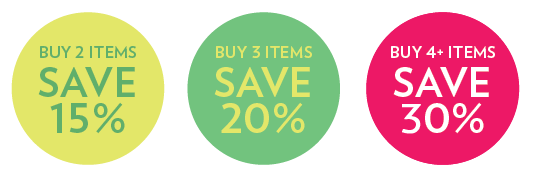 Buy 2 items save 15%; Buy 3 items save 20%; Buy 4 items save 30%