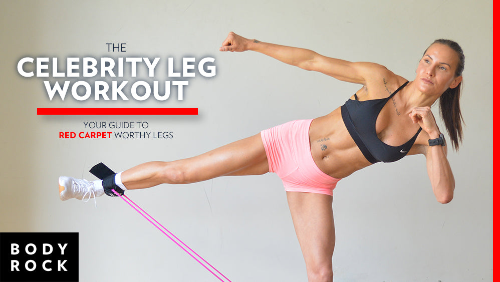 Image of Bodyrock Host Lisa in a workout action using booty band resistance band with text on left The BodyRock Celebrity Leg Workout Gear for best leg day - Get Your GUIDE to RED CARPET worthy legs
