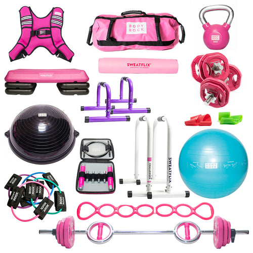 Bodyrock Ultimate bundle of products including BodyBar & Weights 35 Lb Challenger Bars Mini Challengers Sandbag Weighted Vest (choice) 20 Lb kettlebell Dumbbells & weights Yoga Mat Stability Ball Balance Trainer Booty Bands Core Resistance Bands