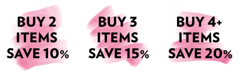 Buy 2 items save 10%; Buy 3 items save 15%; Buy 4 items save 20%