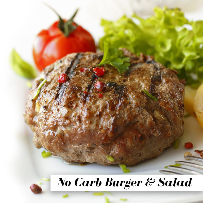 Image of Bodyrock Meal Plan featuring a Grilled Burger garnished with green leaves and a red tomato in the background with text on bottom left No Carb Burger and Salad