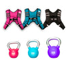 Image of 3 different weighted 20, 30 & 40lb Kettlebells in pink, blue and purple with 3 different vests of 6, 8, 10lb Weighted Vests