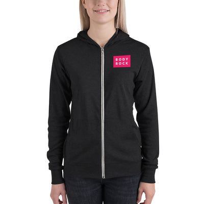 Image of BodyRock BodyRock Unisex zip hoodie Charcoal black Triblend / XS by BodyRock.Tv