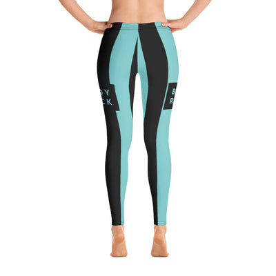 Image of BodyRock BodyRock women's blue striped leggings XS by BodyRock.Tv