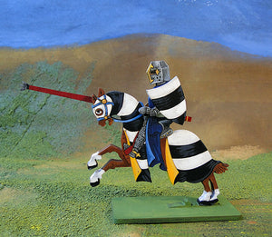 Knight with Pot Helm - no crest, striped barding (var2) - (Mounted / On Foot)