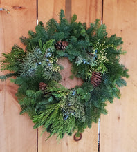Load image into Gallery viewer, Wreath - Mixed Evergreens w/Cones
