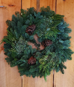 Wreath - Mixed Evergreens w/Cones