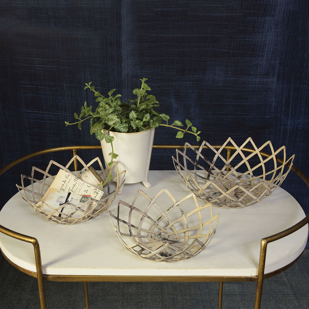 Antique White Metal Woven Basket (each size sold separate)