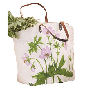 Floral Bag with Leather Handles