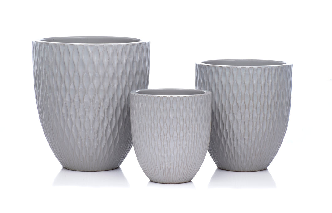 Gray Waffled Planter (each size sold separate)