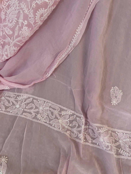 Powder Pink Lucknowi Chikankari Suit