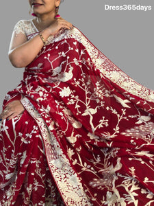 Masterpiece Red and Ivory Parsi Gara Saree