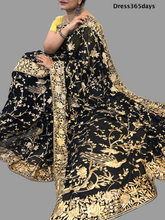 Load image into Gallery viewer, Black Parsi Gara Saree with Golden work