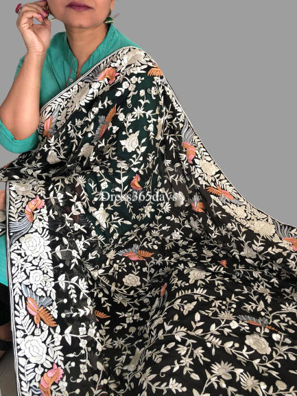 Black Pure Georgette Hand Embroidered Parsi Gara Dupatta