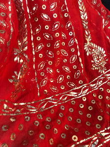Red All Over Golden Mukaish Anarkali (Anarkali And Dupatta)