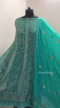 Load and play video in Gallery viewer, Turquoise Mirror Gota Patti Anarkali Suit