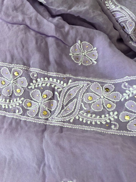 Lilac Mukaish Lucknowi Chikan Suit