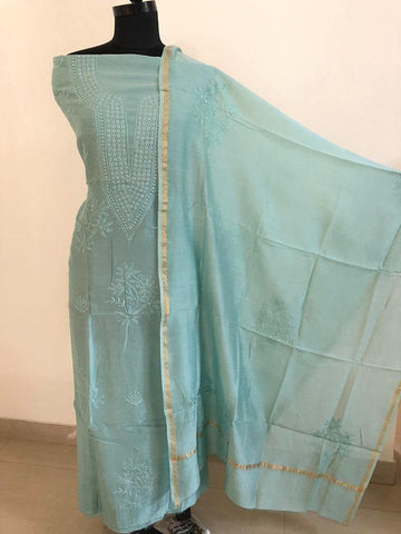 Bluish Green Fine Chanderi Chikankari Mukaish Work Suit (Kurta and Dupatta)