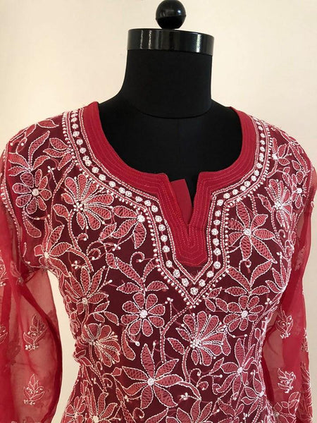 Chikankari Front Back Georgette Top