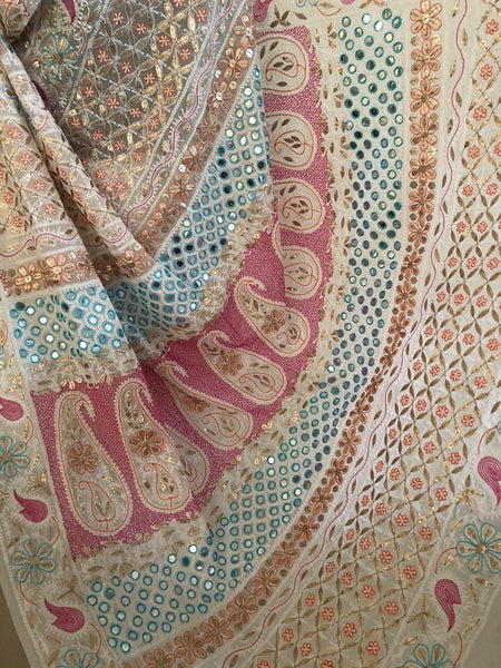 Multicolour Chikankari Gota Patti and Mirror Work Saree