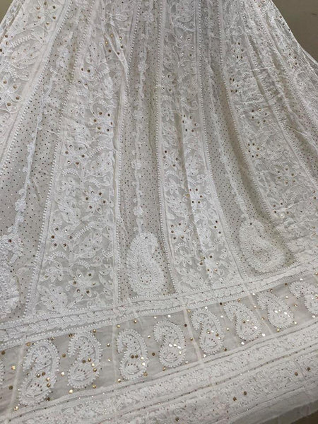 Off White Mukaish Chikankari Anarkali