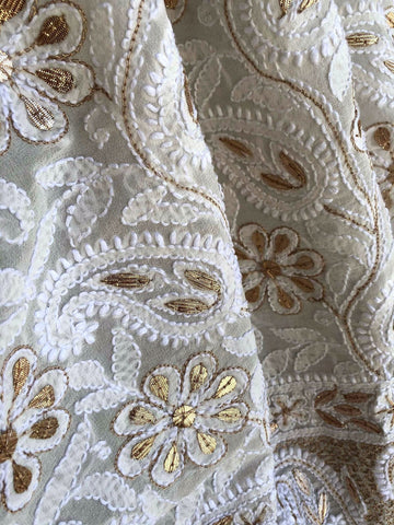 Off White Lucknowi Chikankari Dupatta With Heavy Gota Patti Work