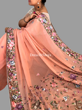 Load image into Gallery viewer, Peach Hand Embroidered Parsi Gara Saree - Dress365days