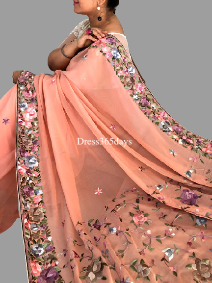 Peach Hand Embroidered Parsi Gara Saree - Dress365days